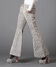 Love this Black & White Geometric Flare Pants by Nuvula on #zulily! #zulilyfinds