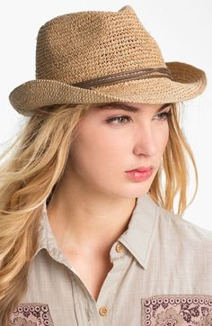"""Earthy doesn't mean """"dated"""" when it comes to hats. This modern fedora styling gives a twist to the traditional Raffia weave hat. Stylish Hats, Love Hat, Trends, Girl With Hat, Fedora Hat, Lady, Hats For Women, Fashion Boutique, Cowboy Hats"""