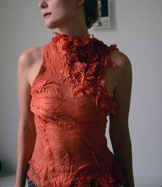Nuno voelde bovenkant van zijde en wol natuurlijke kleurstoffen eco mode ooak wearable Textielkunst