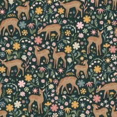 Fawned of You Fabric by Dear Stella House Designer - Hawthorne Supply Co Ditsy Floral, Modern Fabric, Printing On Fabric, Woodland, Deer, Charcoal, Arts And Crafts, Baby Teething, Teething Toys