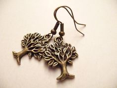 Copper  tree charms earrings by Eleganceforyou on Etsy, $10.00