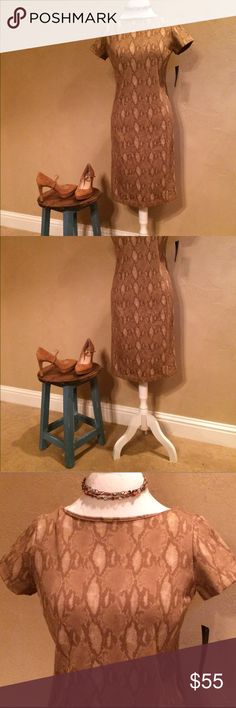 "Lauren Ralph Lauren Tan Snake Print Casual Dress Lauren Ralph Lauren Tan Snake Print Sheath Silhouette Short Sleeve Shirt Dress, reasonable offers welcomed, no trades.  Paired with Vince Camuto Heels and Silpada necklace avail in my closet  Size: S Retail: $135.00 Condition: New with tags Style Type: Shirt Dress Collection: Lauren Ralph Lauren Sleeve Length: Short Sleeve Closure: Pullover Dress Length: Knee-Length Total Length: 37"" Bust Across: 17.5"" Waist Across: 17"" Material: 81%…"
