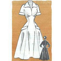 Vintage 1950s Pattern Empire Waist Princess Seam Full Skirt Dress Mail Order 4671 by sydcam123
