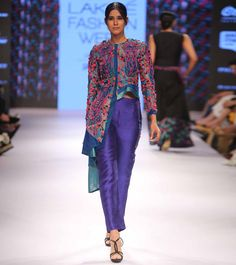 Blue Embroidered Silk #Peplum #Jacket With Straight #Pant at #Indianroots