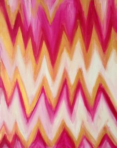 Pink Gold White Abstract Chevron Acrylic by Thirteen20Five on Etsy