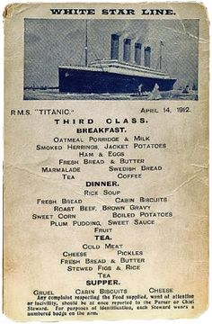 Third class menu for April 14, 1912