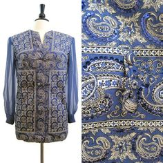 Lila Bath Blouse Vintage Mexican Beaded Sequined Bandana Print Boho Hippie Tunic Top M