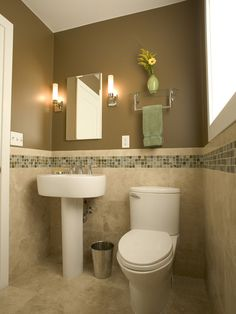 Tile in bathroom, towel rack, wall color and lights next to mirror. Contemporary Design, Pictures, Remodel, Decor and Ideas - page 19