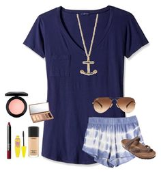 """""""Field day today! Plus RTD for today's shout outs!"""" by pandapeeper ❤ liked on Polyvore featuring LAmade, Ray-Ban, Birkenstock, Kate Spade, NARS Cosmetics, Maybelline, MAC Cosmetics and Urban Decay"""