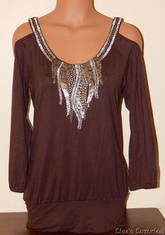 Women's S CACHE Top Open-Shoulder Medallion Beaded Embellished Brown #Cache #Blouse #Clubwear