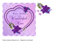 Nan Birthday card with heart   flowers on Craftsuprint - View Now!
