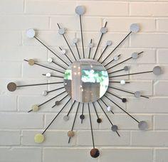 24 Inch with 6 Inch Center Metal Sunburst Wall Art Interior Design Sun Mirror Starburst Atomic Modern Contemporary Retro Style