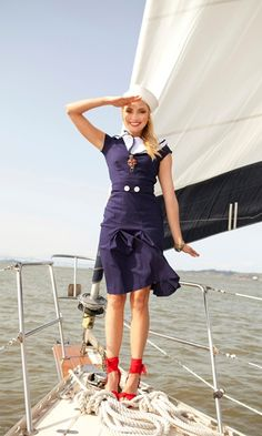 Such a Cute Sailor Suit for the 40's/50ish years to have worn on a boat when dresses were worn for everything, today? Nah! Admiralon A Line/Navy & White. It would look great on Price Williams wife Kate tho. :-)