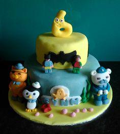 Octonauts, Batman, lego, numberjacks tiered cake