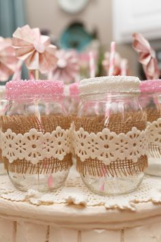 Baby Shower Mason Jars Wrapped in Burlap and Lace
