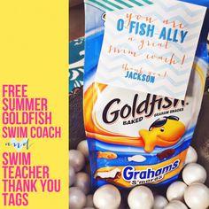 Swim coach and swim teacher thank you gift tags.