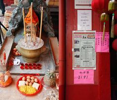Buddhist offerings found on most streets in Singapore