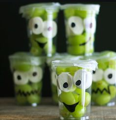 Monster fruit cups with grapes and marshmallows