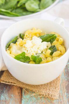 Microwave Mug Spinach and Feta Macaroni and Cheese