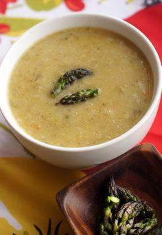 It's asparagus season, which means delicious soup for rainy spring days.  Asparagus Lemon Rice Soup, that is.