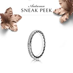 Elegantly designed, this refined sterling silver eternity ring is an indispensable part of any jewelry collection. Wear it alone to draw attention to the dainty cut-out heart pattern or add it to a ring stack as an elegant stacking piece. #PANDORA #PANDORAring