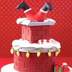 Christmas Themed Cake, Christmas Cake Designs, Christmas Cake Decorations, Christmas Cupcakes, Christmas Sweets, Holiday Cakes, Christmas Cooking, Father Christmas, Christmas Christmas