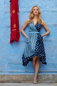Anthropologie EU Sapphire Garden Wrap Dress
