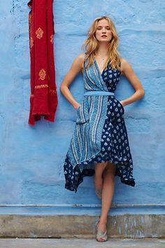 Anthropologie EU Sapphire Garden Wrap Dress