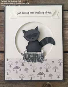 Raccoon using Stampin' Up! Fox Punch and Foxy Friends Stamp Set #stampinup #creatinwithkirsteen #foxyfriends