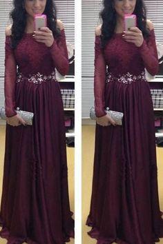 Elegant Long Sleeve Maroon Off Shoulder Evening Dress