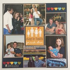 Family page with extended family. Album by JoyFilled Custom Albums. #joyfilledca #scrapbooking #familylayout #customscrapbook
