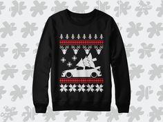 Honda Civic Type-R Christmas sweatshirt. Perfect winter holiday season gift for Turbo CTR owners and fans! Civic Ef, Civic Hatchback, Evolution T Shirt, Mazda Mx, Nissan 350z, Christmas Fashion, Honda Civic, Winter Holidays, Jdm