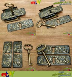 Antique Vtg BRASS KEY-LOCK & Skeleton Key with OLD FLOWERS KEY HOLE PLATE, unused and GREAT GIFT for your home decor. Key_lock #Key_hole #Brass #Antique #Vintage #Home_decor