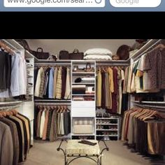 Walk-in closet DIY idea. I plan to replicate with a bookcase and retractable shower curtain rails