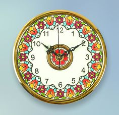 madeinandalusia.es   Clock Plate 14 CMS.  Handmade in Sevilla.   Isbiliya (Al-Ándalus).  Enamels and 24K gold