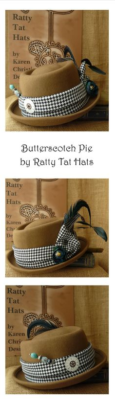 Caramel, teal and turquoise blues for this Steampunk Pork Pie hat with a lovely Boho Chic style. Handmade, OOAK and beautifully satin lined. Currently available at our website shop https://www.rattytathats.com