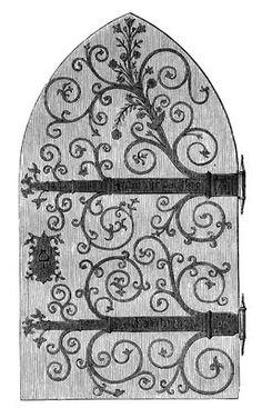 Vintage Clip Art - Gothic Door - Harry Potter-esque - The Graphics Fairy