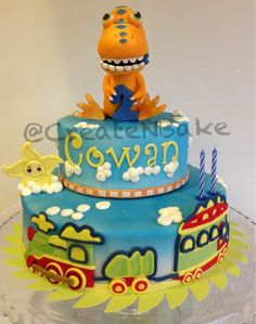 Cake based on dinosaur train theme! All made out of fondant! Dinosaur Train Cakes, Dino Train, Dinosaur Party, Little Boy Cakes, Cakes For Boys, Dino Cake, Birthday Parties, 4th Birthday, Birthday Cakes