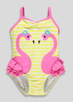9d0e15c3a2ef5 Girls 3D Flamingo Swimming Costume (3mths-5yrs) Baby Swimming Costume, Toddler  Swimming