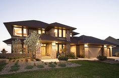 Prairie Style Home Plan - 14469RK   2nd Floor Master Suite, CAD Available, Contemporary, Den-Office-Library-Study, Jack & Jill Bath, Luxury, MBR Sitting Area, Northwest, PDF, Photo Gallery, Prairie, Premium Collection   Architectural Designs