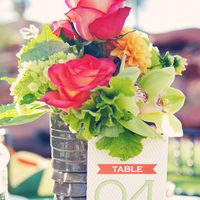 Flowers & Decor, Stationery, Real Weddings, Wedding Style, orange, green, Centerpieces, Table Numbers, Modern Real Weddings, Summer Weddings...