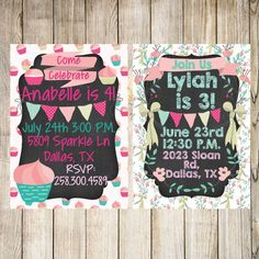Shabby Chic Cupcake Floral Pink & Mint Printable Birthday Party Invitations Invites