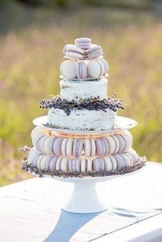 Lavender macaroon cake @myweddingdotcom