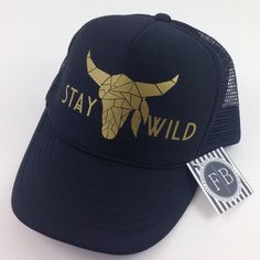 ccc5c81cc4279 Our newest Boho Stag Trucker is now available in black and gold! Sombreros