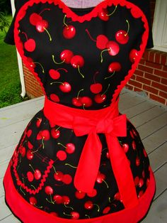 Sweet Cherries / Pin Up style Apron / READY TO SHIP / Sweet heart Top Full Apron / Diner style Apron / Burlesque / Sexy house wife. Cherry on top!