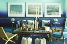 Ombre walls aqua and ocean blue- want to do this only with more subtle layers