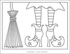 Free Halloween coloring pages - witch shoes, witch broom - Halloween coloring sheets