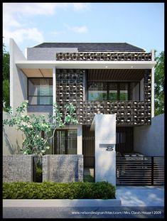 Clara's House by Neellss on DeviantArt Tropical Architecture, Modern Architecture House, Facade Architecture, Residential Architecture, Exterior Wall Design, Facade Design, House Design, Fence Design, Morden House