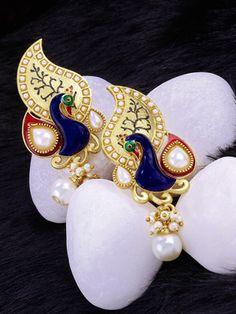 Designer Earrings with Peacock Design