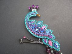 Exotic Glitterling Crystal Massive Peacock Brooch